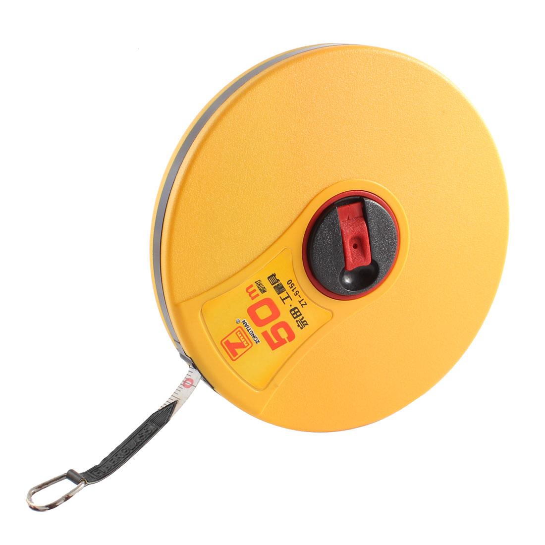 Round Shape Fibreglass Surveyors Measuring Tape Measure Tool Yellow 50M