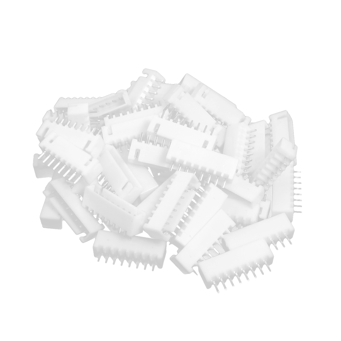 50pcs 1 Row 8 Pin 2.54mm Pitch Pluggable Socket Straight Header Connector Adapter White