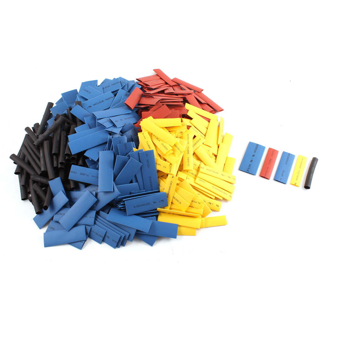 500pcs 5 Sizes Assorted Color 2/1 Ratio Heat Shrinkable Tubing Shrink Tube Pipe Wire Wrap
