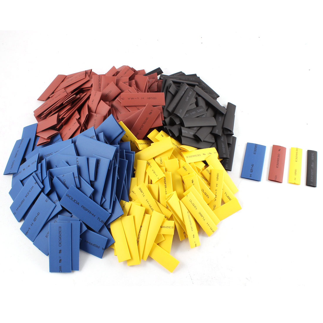 400pcs 2:1 Heat Shrink Tubing Shrinkable Tube Insulated Pipe Sleeving Cable Cover Wrap 50mm Long 4 Sizes