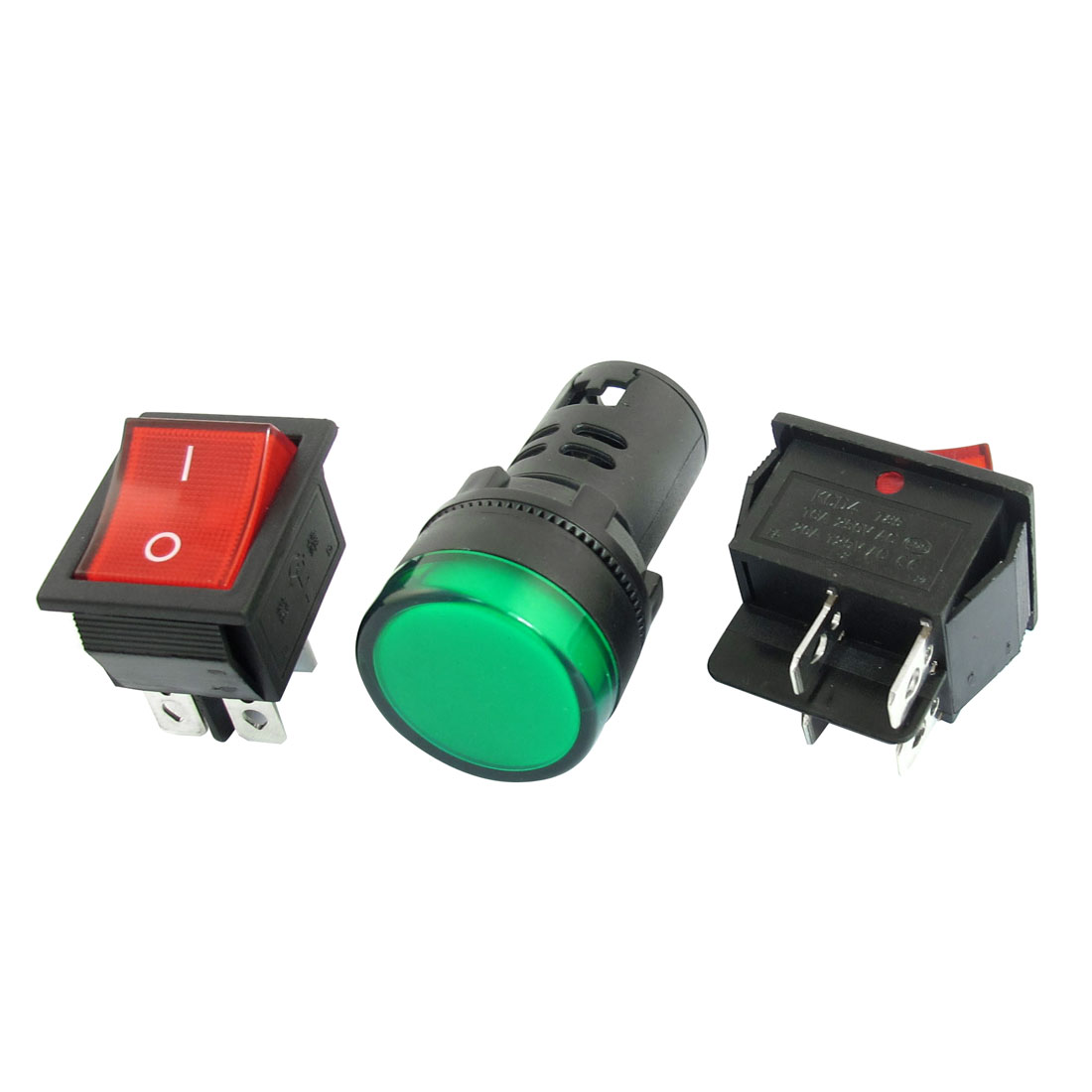 3 in 1 AD16-22D/S AC 12V 20mA Green LED Pilot Light Panel Indicator Lamp + DPST Rocker Switch