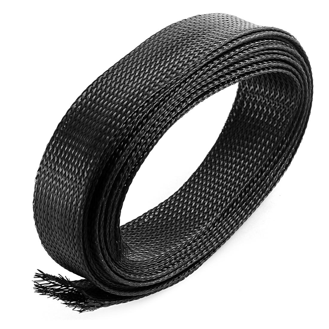 13Ft 3.9M Long 30mm Width Black Nylon Expandable Braided Sleeving Cable Cover Wire Protector