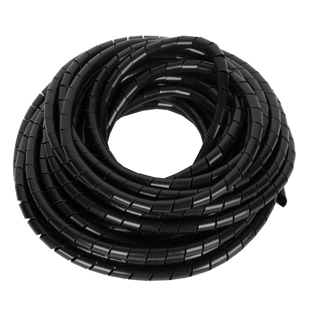 3pcs 8mm Dia 34.5Ft 10.5m Long Flexible Spiral Tube Wrap Lead Cable Organizer Management Black