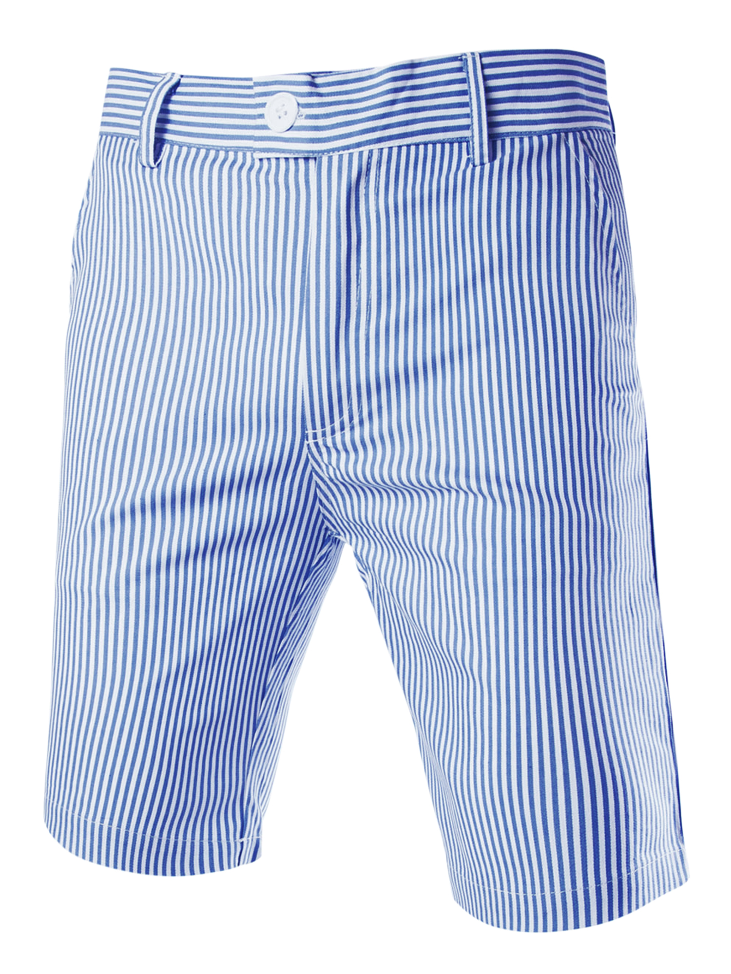 Men Vertical Stripes Four Pockets Casual Chino Shorts Blue White W28