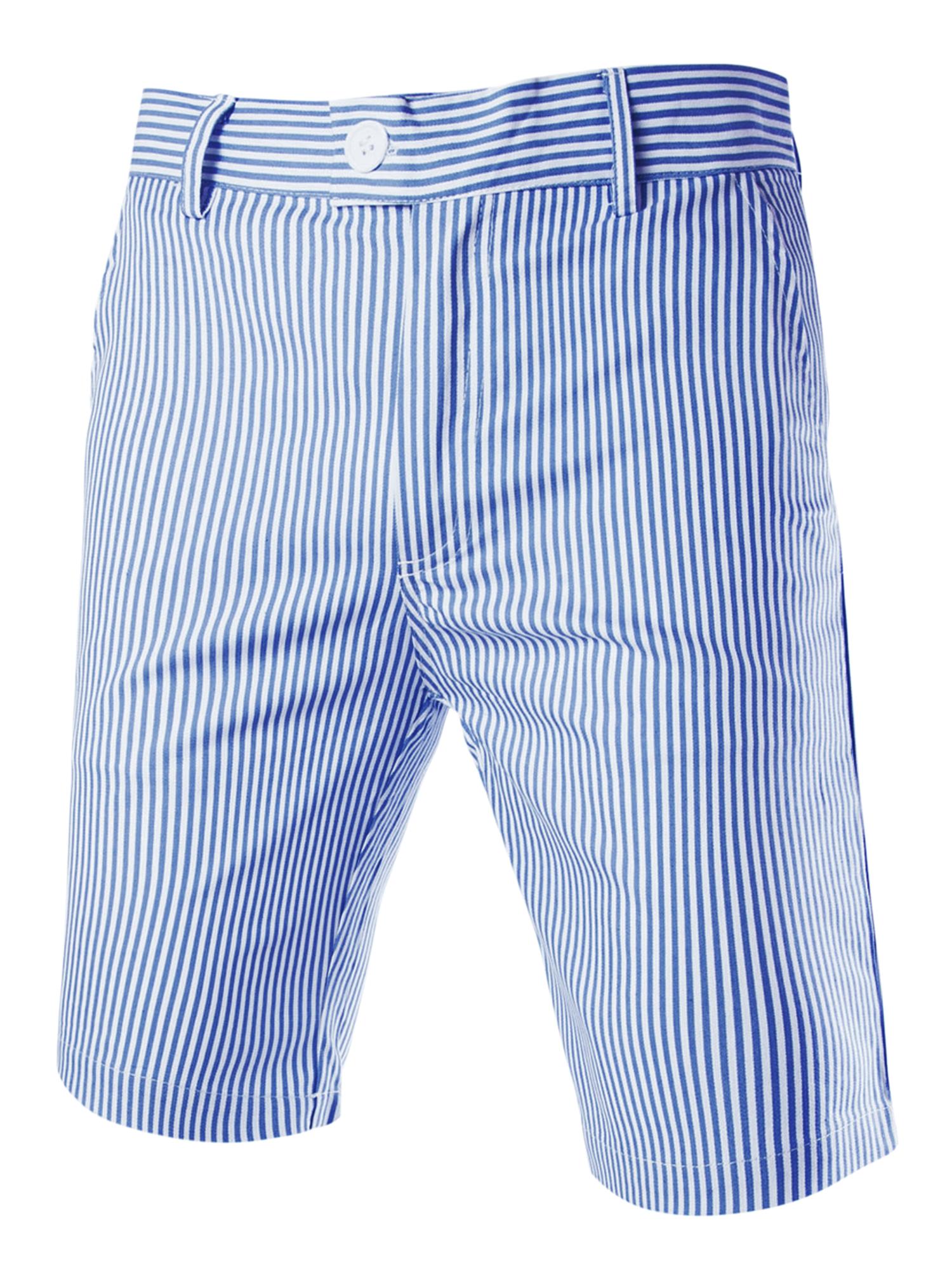 Men Vertical Stripes Slant Pockets Front Chino Shorts Blue White W32