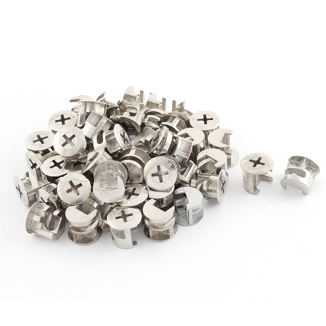 15.5mm Dia Cross Head Metal Cabinet Furniture Connector Cam Fittings Silver Tone 50 Pcs