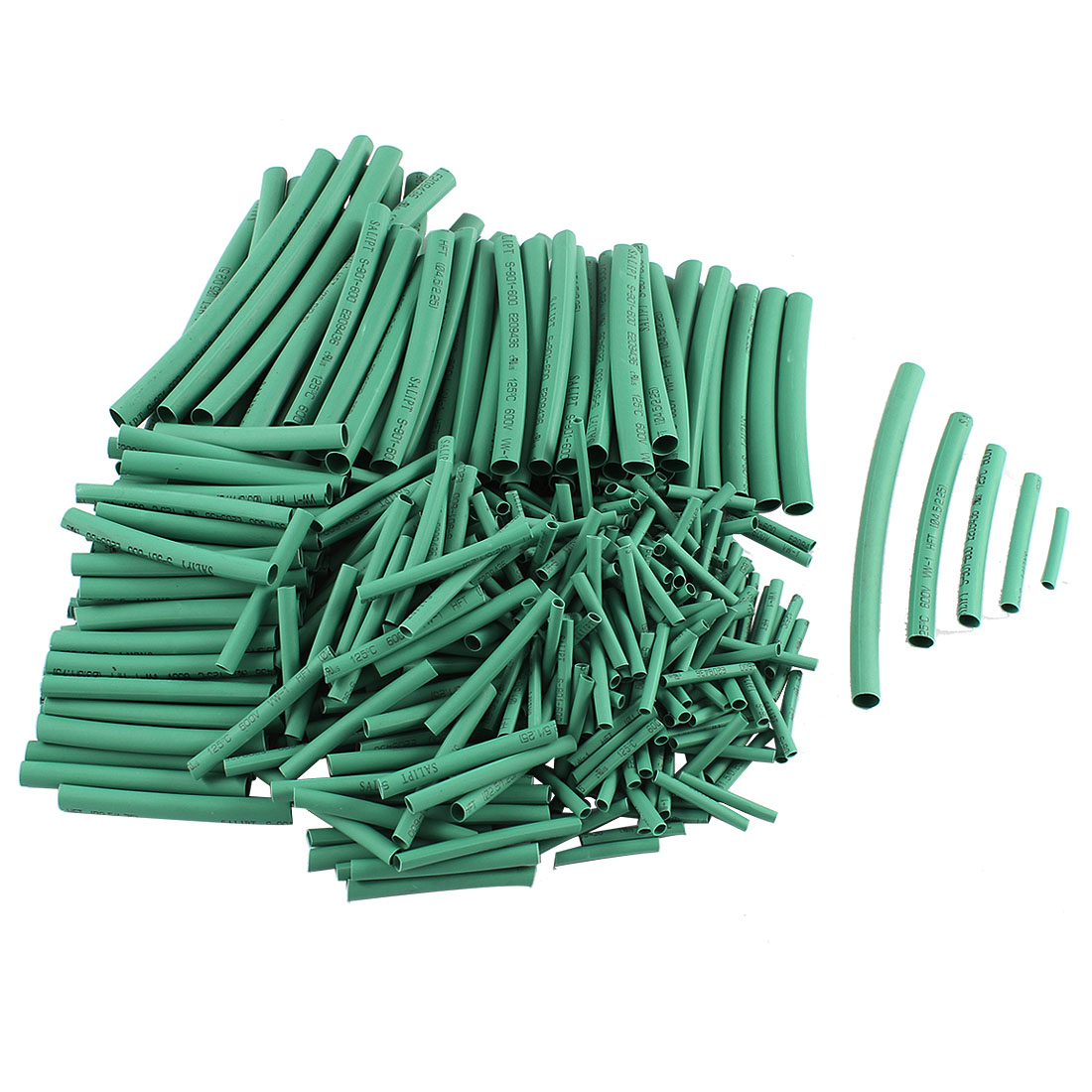 410 Pcs 5 Sizes Polyolefin Heat Shrink Tubing Cable Sleeve Green