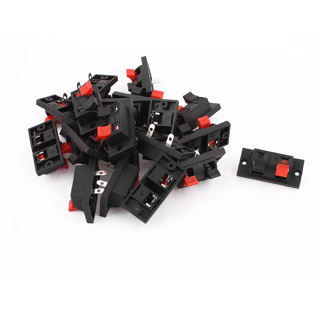 19 Pcs 2 Way Spring Push Release Connector Amplifier Speaker Terminal Strip Block