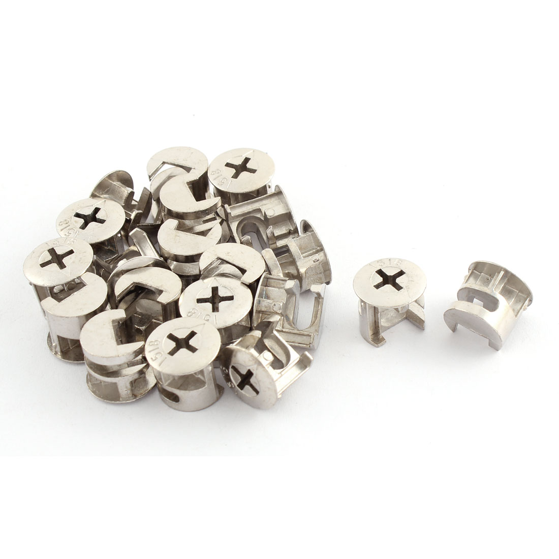 15.5mm Dia Cross Head Metal Cabinet Furniture Connect Cam Fittings Silver Tone 20 Pcs