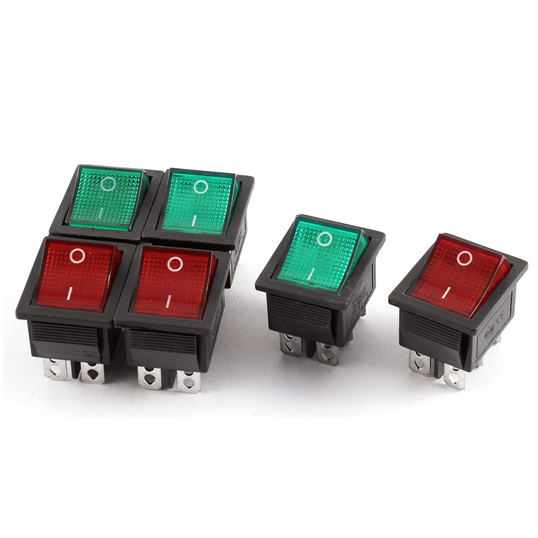 AC 125V/20A 250V/15A 2 Position 6 Terminals DPDT Rocker Boat Switch 6 Pcs Green Red