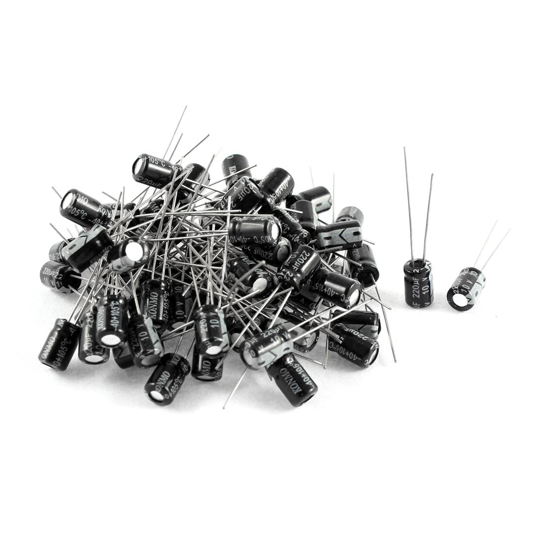 70 Pcs Black Aluminum Electrolytic Capacitors 220uF 10V Radial Lead 5mmx8mm