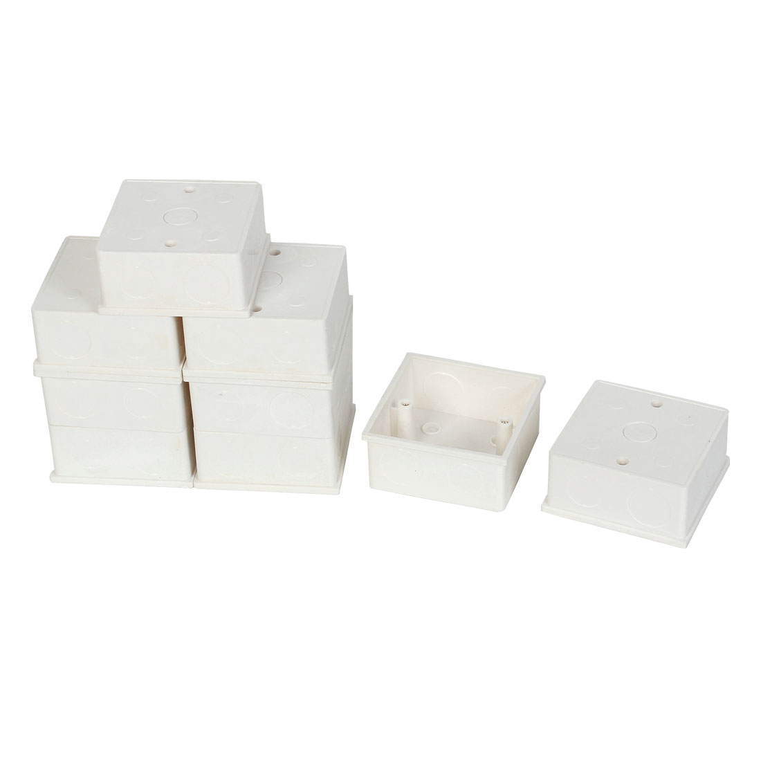9 Pcs 86mmx86mmx40mm White PVC Square Mount Back Box for Wall Socket