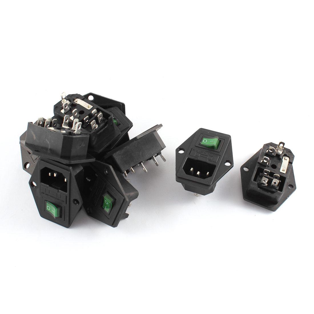 10 Pcs Plastic Housing AC-19 C14 Power Socket 7 Terminals w Fuse Holder