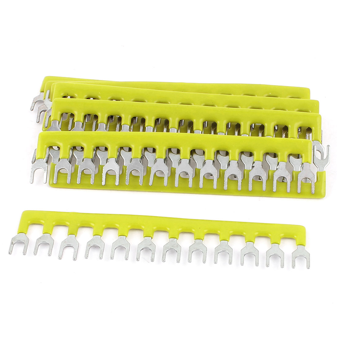 10 Pcs 400V 10A 12 Positions Pre Insulated Fork Type Barrier Terminal Connector Strip