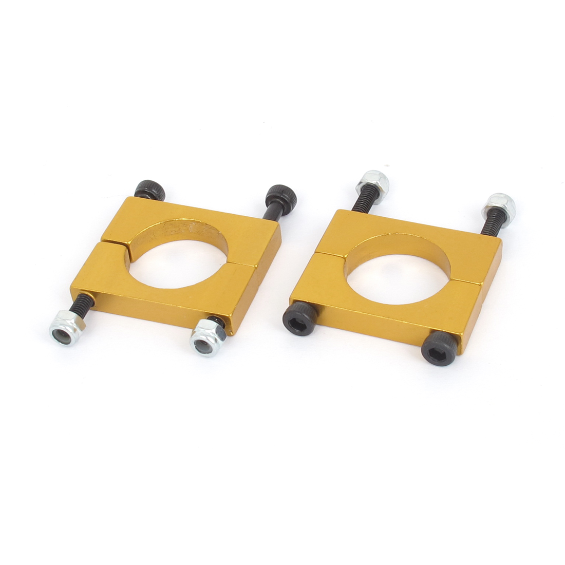 18mm Dia Multicopter Airplane Metal Tube Clip Fixture Clamp Holder Gold Tone 2pcs