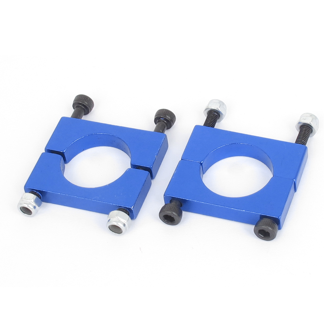18mm Dia Multicopter Airplane Metal Tube Clip Fixture Clamp Holder Blue 2pcs