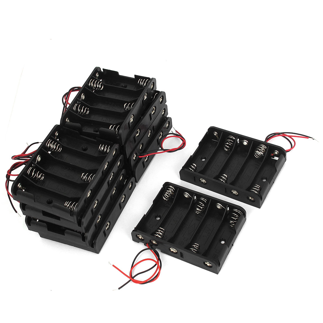 10pcs Plastic Shell 2-Wire 5 x 1.5V AA Battery Case Storage Boxes Holder Black