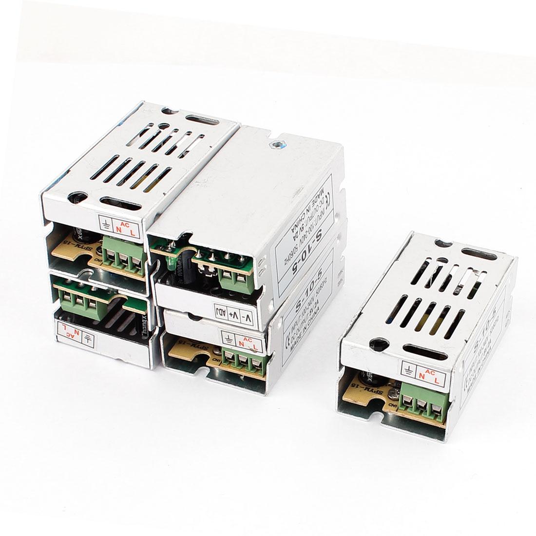 5Pcs AC 100V-240V DC 5V 2A 5 Pins Metal Housing Switching Power Supply Converter