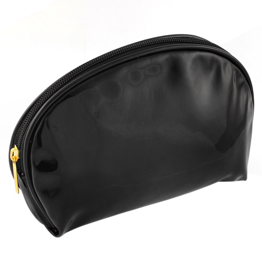 Woman Portable Faux Leather Make Up Cosmetic Bag Navy Blue