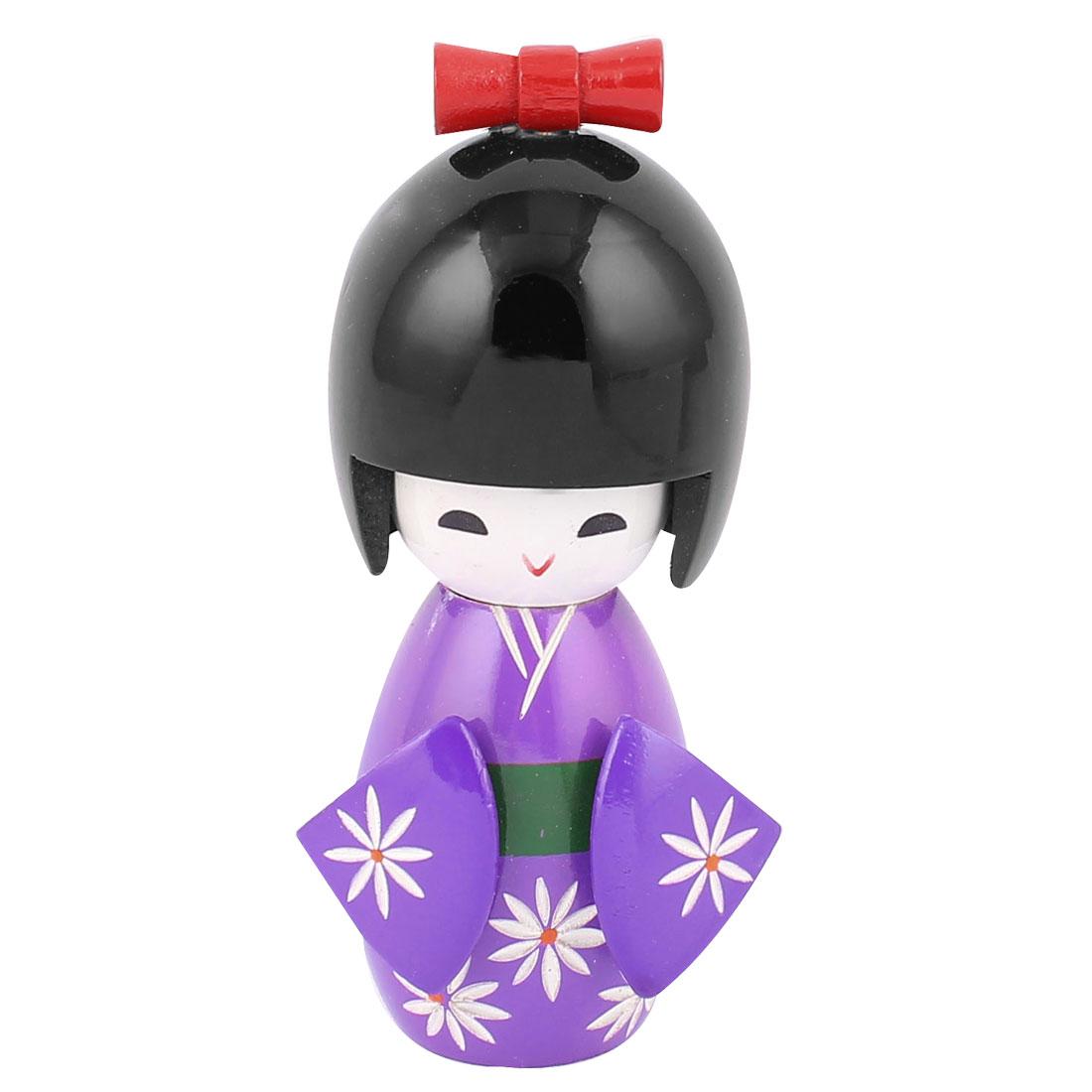 Wooden Traditional Japanese Kimono Kokeshi Doll Desk Decoration Purple