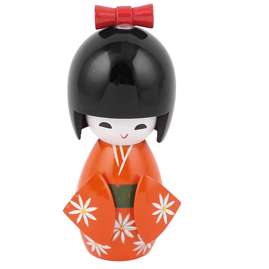 Wooden Traditional Japanese Kimono Kokeshi Doll Desk Decoration Orange