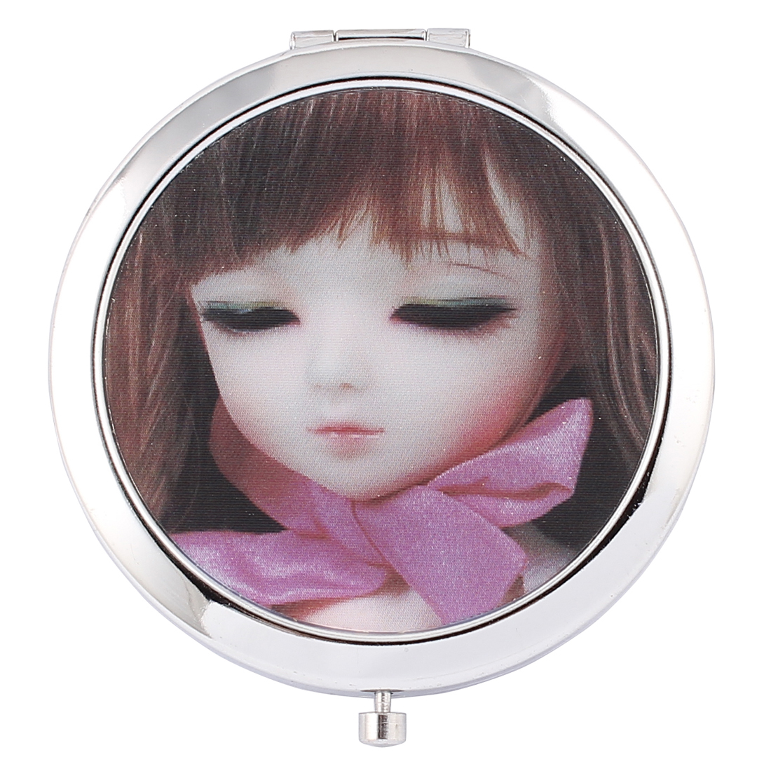 Brown Hair Pink Bow Tie Girl Printed Two Side Compact Mirror for Lady