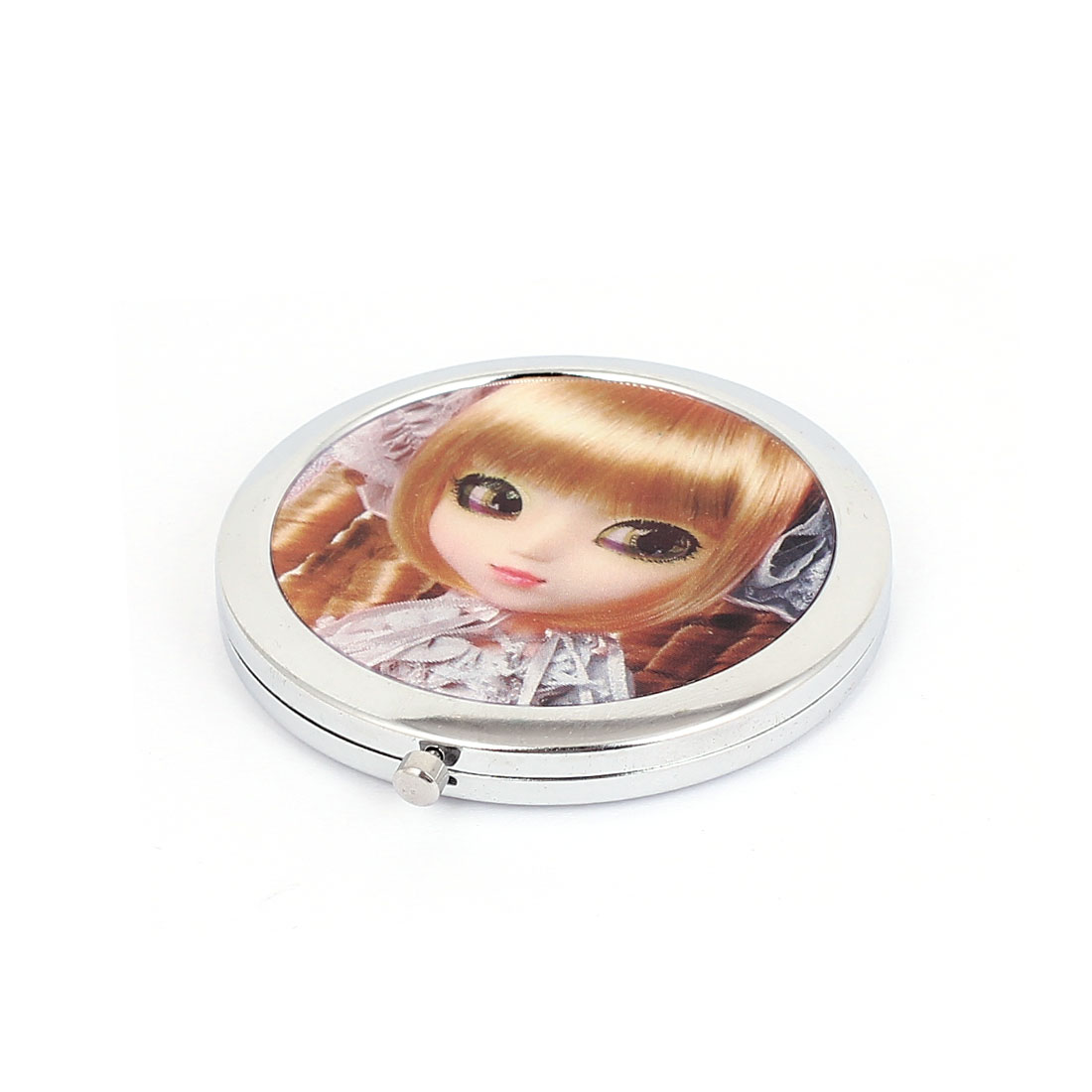 Girl Printed Metal Frame Double Sided Folding Cosmetic Mackup Mirror