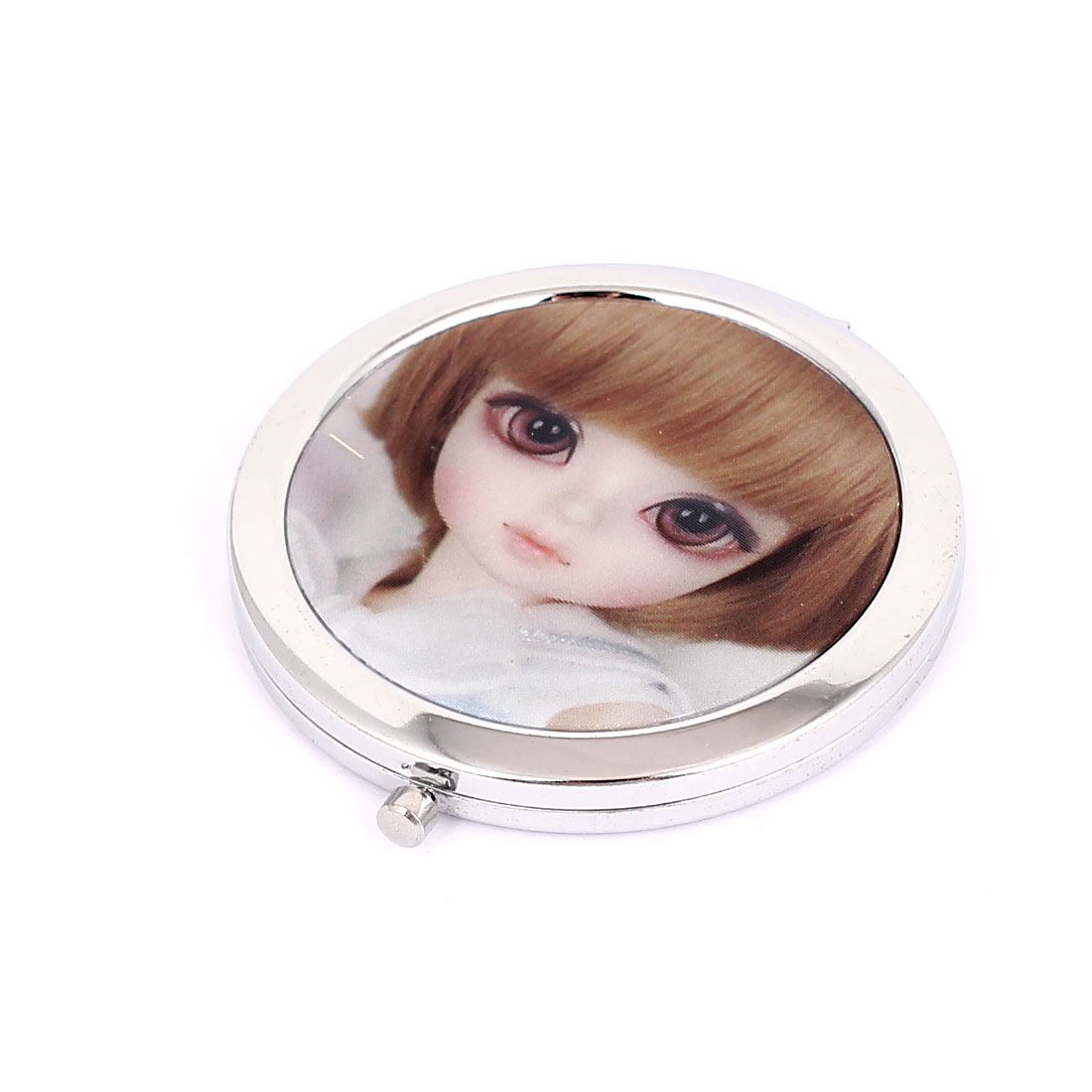 Silver Tone Metal Girl Printed Round Shape Folding Makeup Mirror