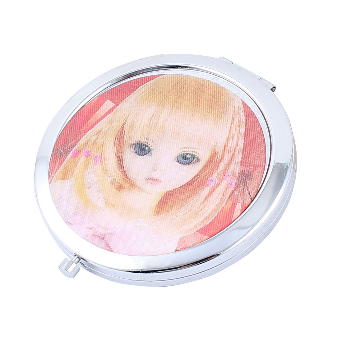 Girl Printed Round Shape Makeup Cosmetic Mirror