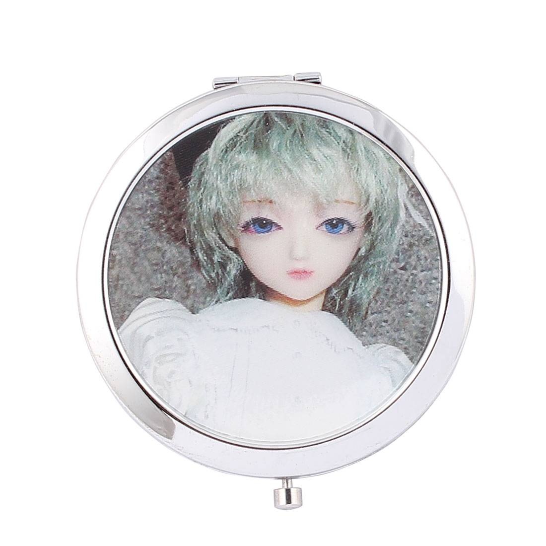Girl Print Dual Sided Folding Round Compact Cosmetic Mirror