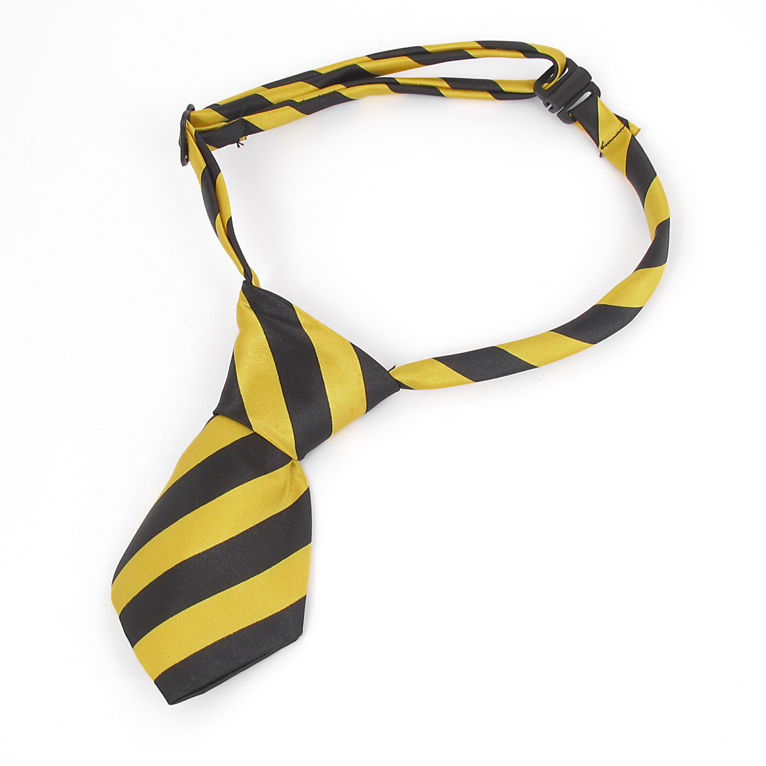 Men Stretchy Band Two Layer Dots Pattern Party Formal Bow Tie Black Yellow