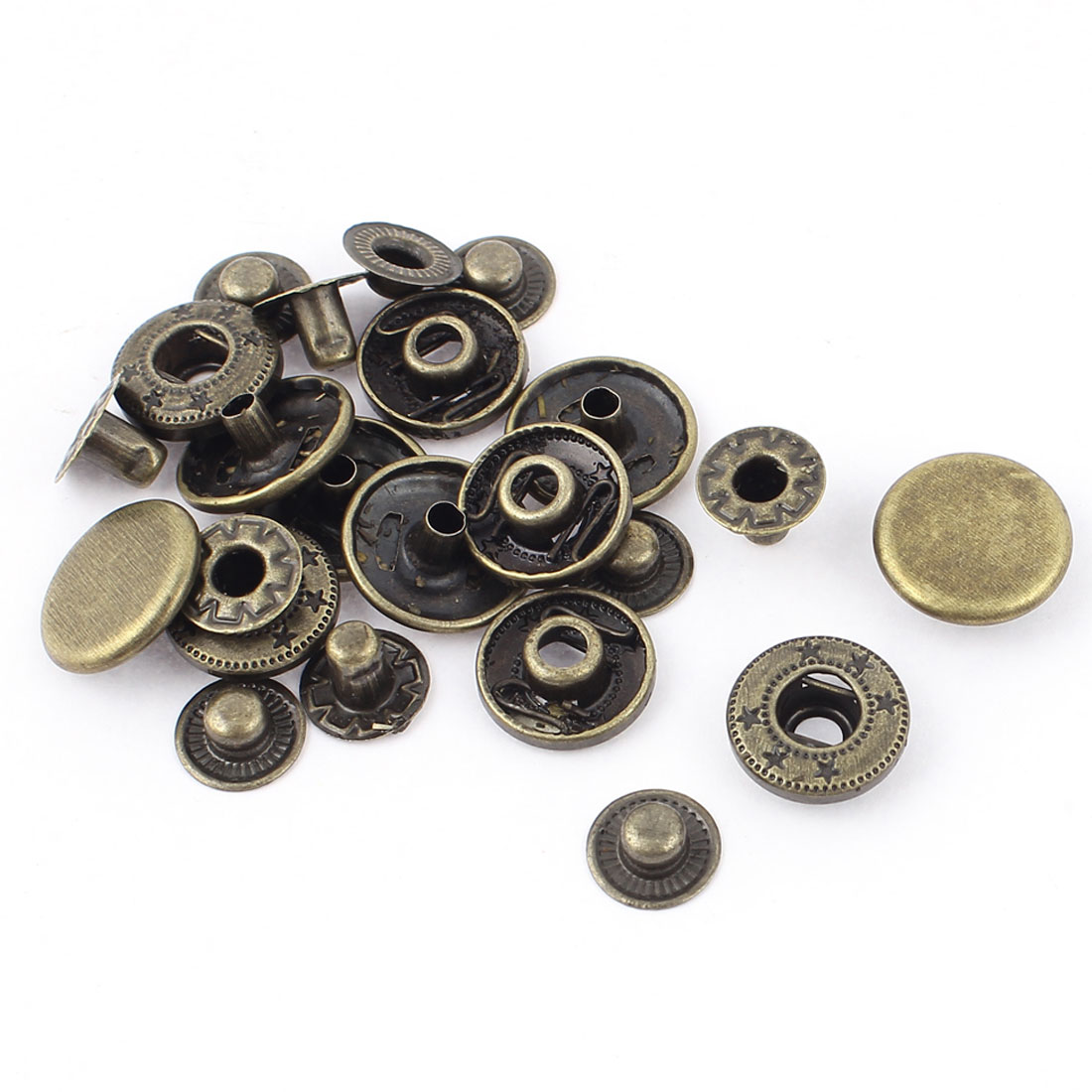 6 Sets 15mm Dia Cap Metal Clothing Sewing Finish Poppers Snap Fasteners Press Stud Button