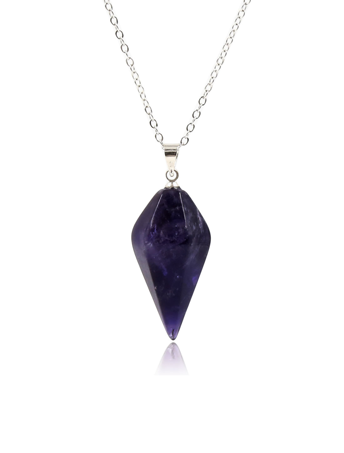 Amethyst Gemstone Crystal Pendulum Dowsing Reiki Chakra Pendant Chain Necklace