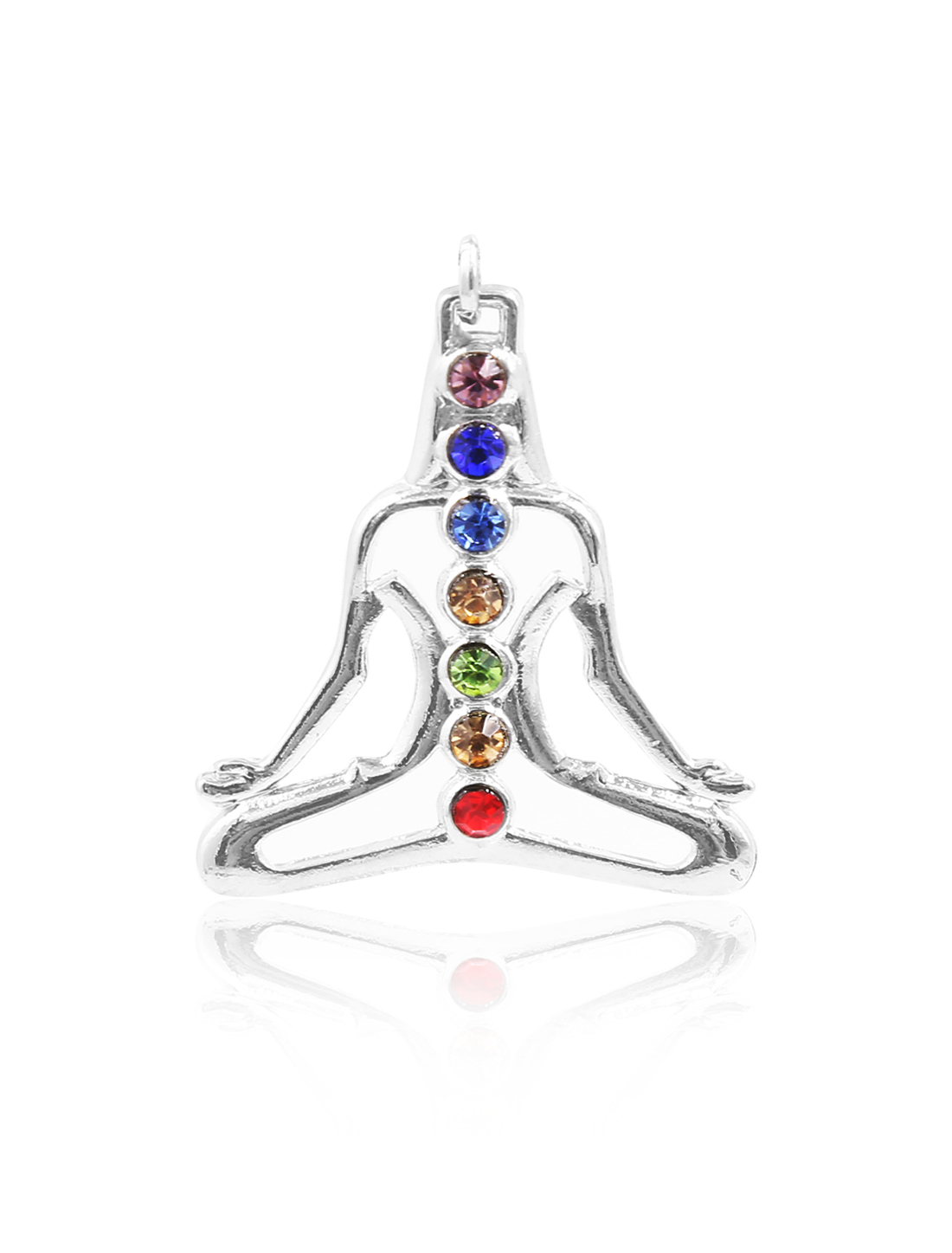 Fashion Crystal Yoga Portrait 7 Stone Chakra Healing Point Reiki Bead Pendant for Necklace