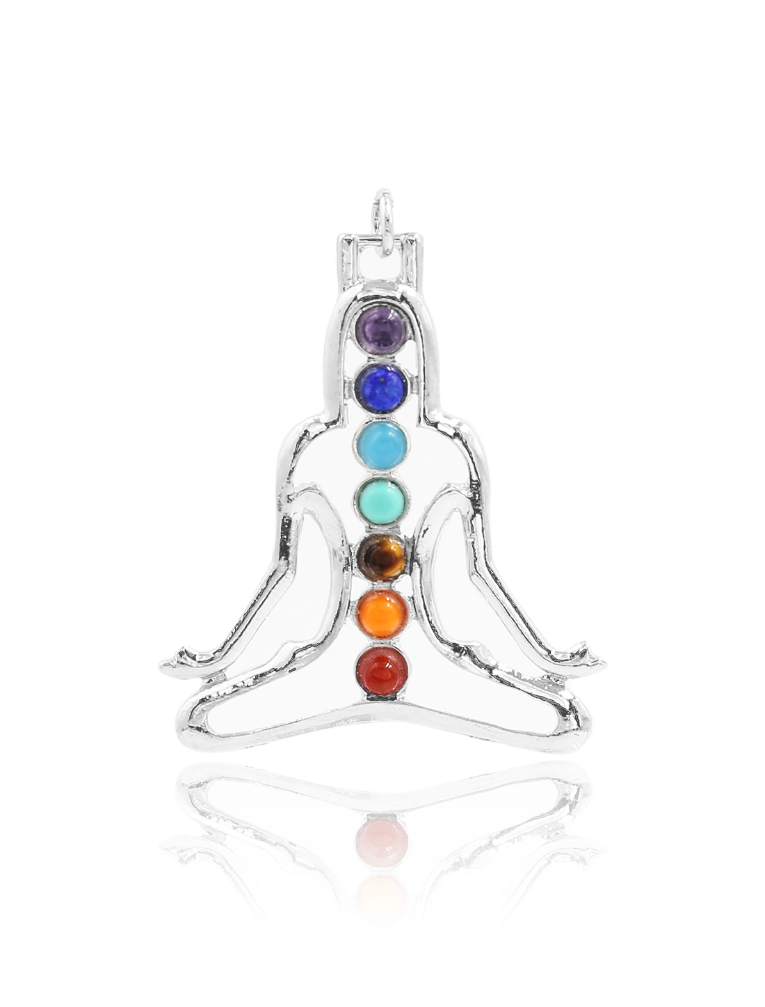 Fashion Gemstone Yoga Portrait 7 Stone Chakra Point Reiki Bead Gemstone Pendant for Necklace