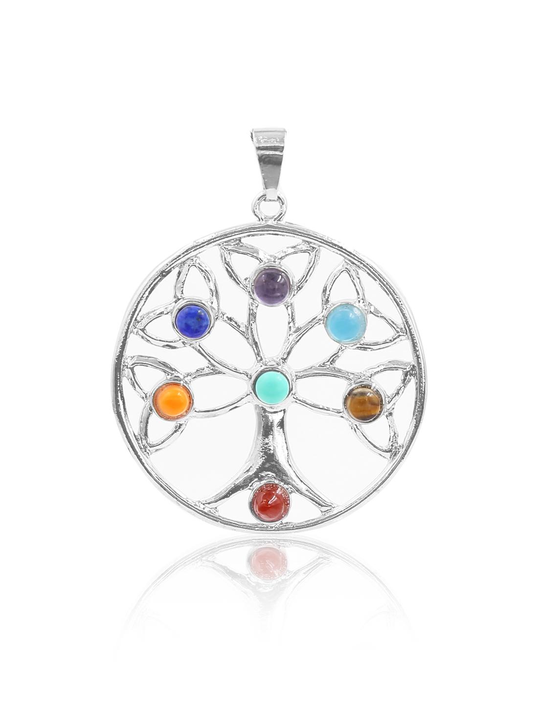 Fashion Circular Tree of Life 7 Stone Chakra Point Reiki Bead Gemstone Pendant for Necklace