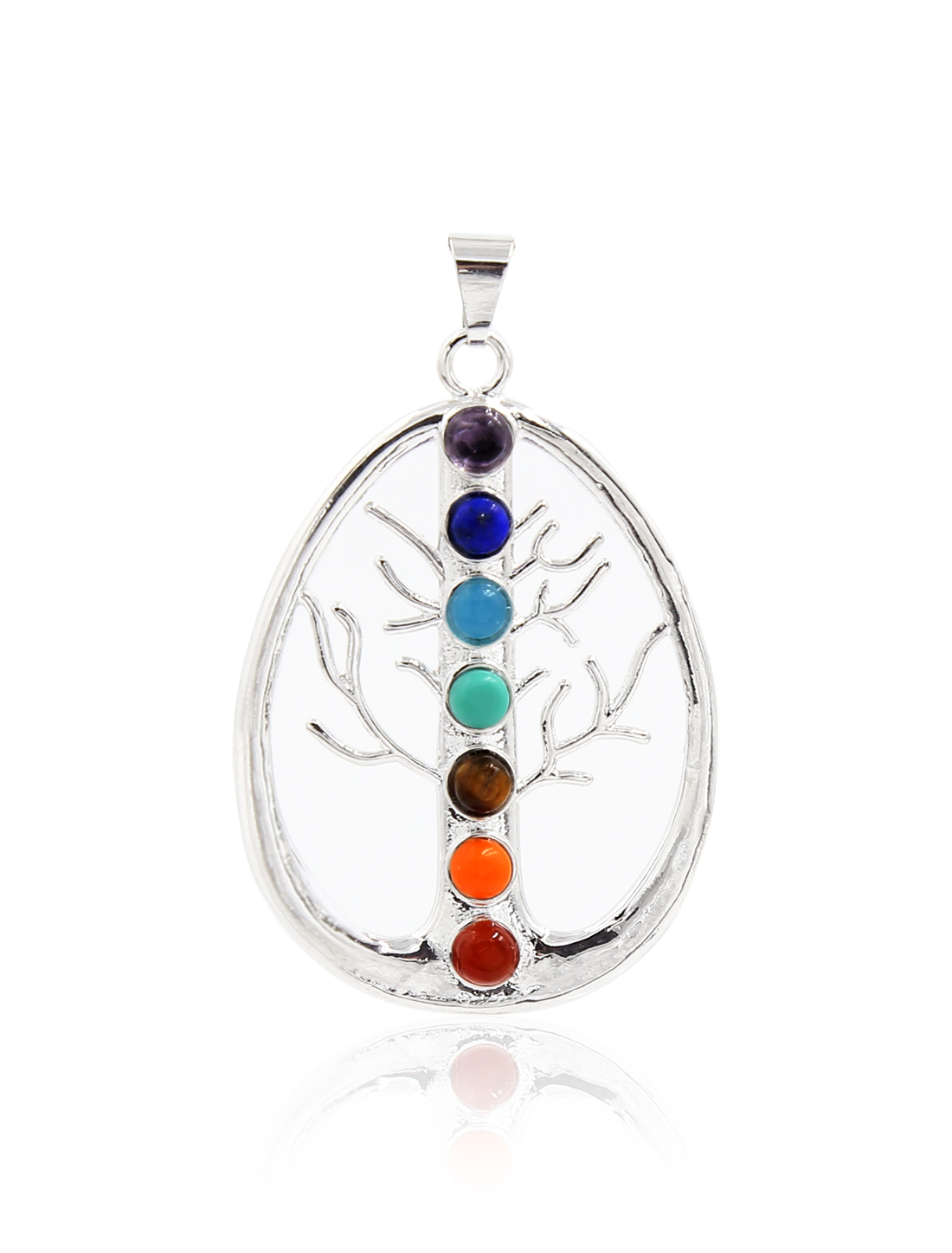 Fashion Oval Tree of Life 7 Stone Chakra Point Reiki Bead Gemstone Pendant for Necklace