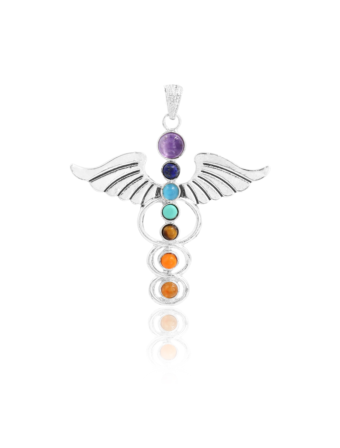 Fashion Angel 7 Stone Chakra Point Reiki Bead Gemstone Pendant for Necklace