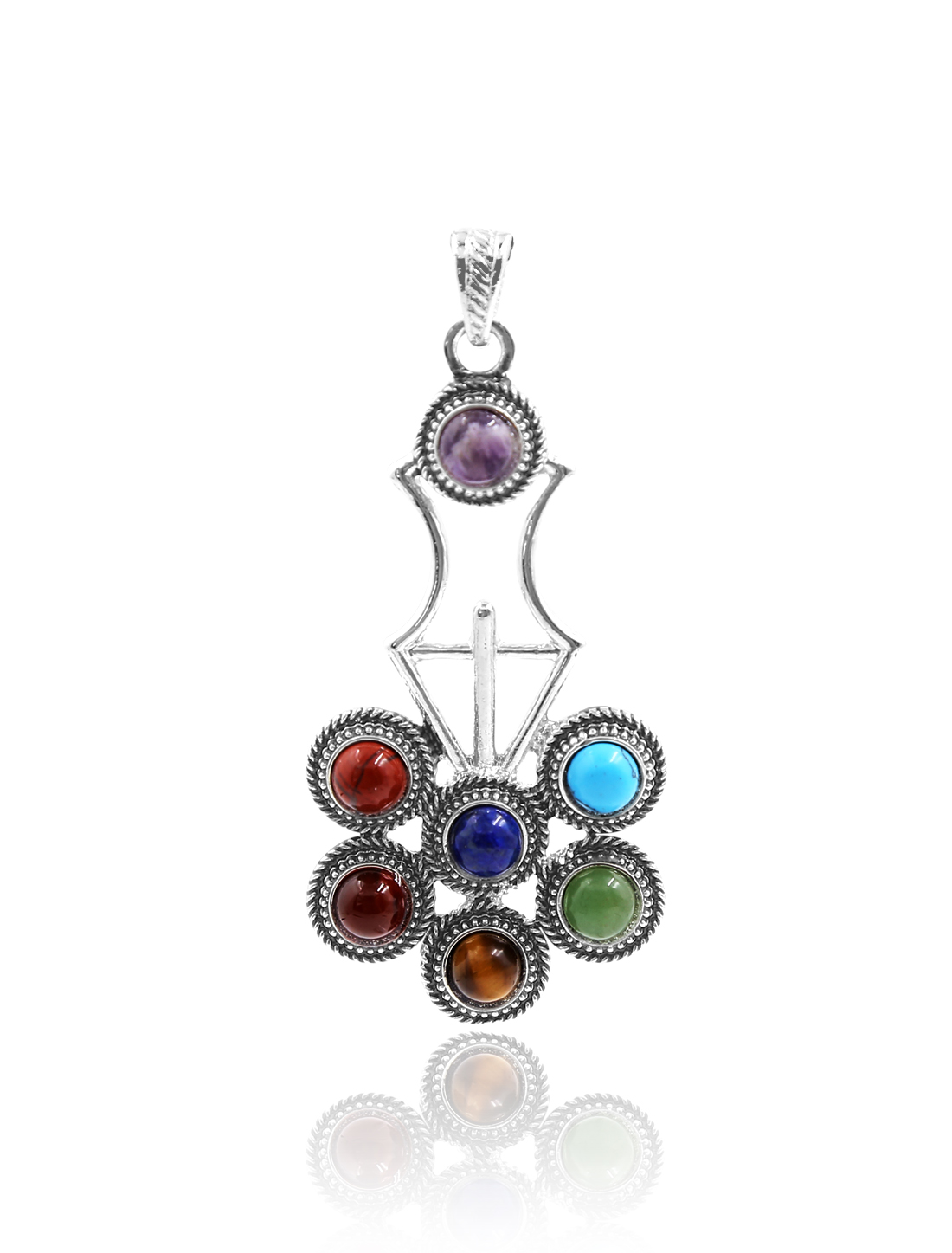 Fashion Lyrate 7 Stone Chakra Point Reiki Bead Gemstone Pendant for Necklace