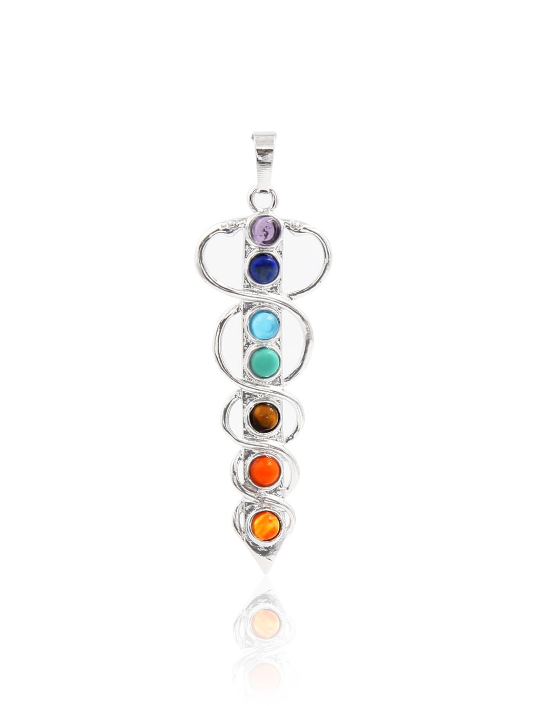Fashion Sword 7 Stone Chakra Point Reiki Bead Gemstone Pendant for Necklace