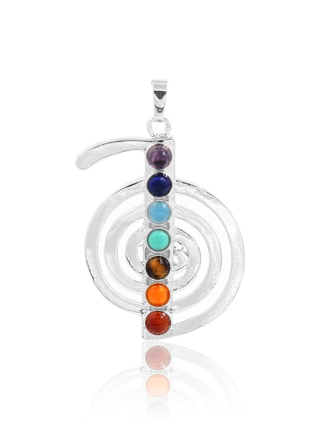 Fashion Cho Ku Rei 7 Stone Chakra Point Reiki Bead Gemstone Pendant for Necklace