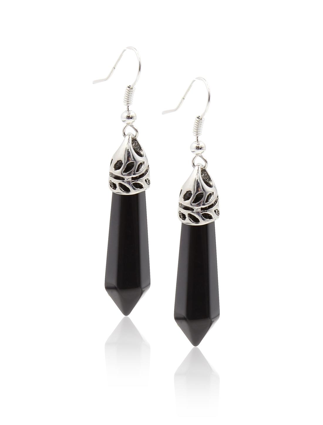 Black Agate Natural Gemstone Healing Hexagonal Pointed Reiki Chakra Stud Earring