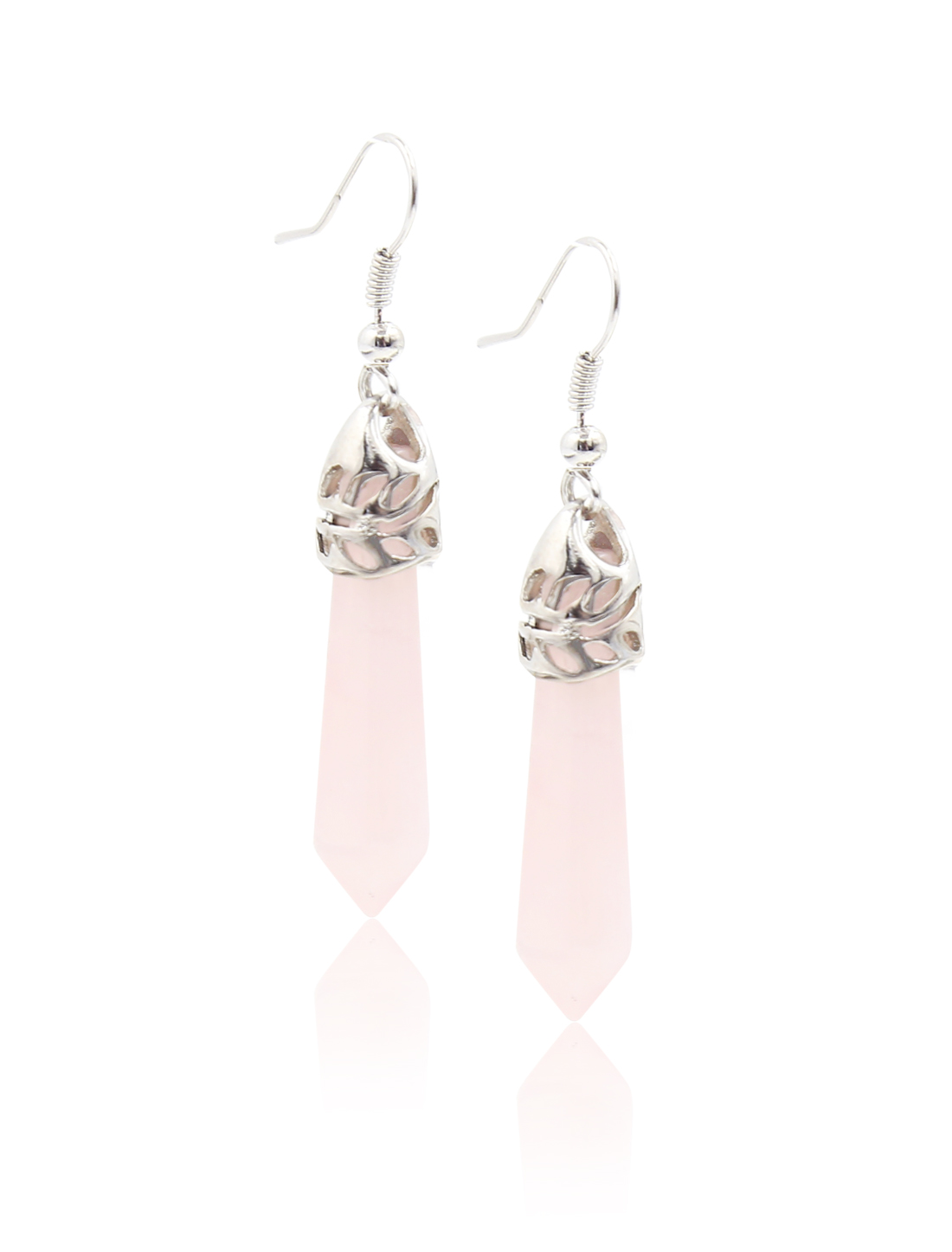 Rose Quartz Natural Gemstone Healing Hexagonal Pointed Reiki Chakra Stud Earring