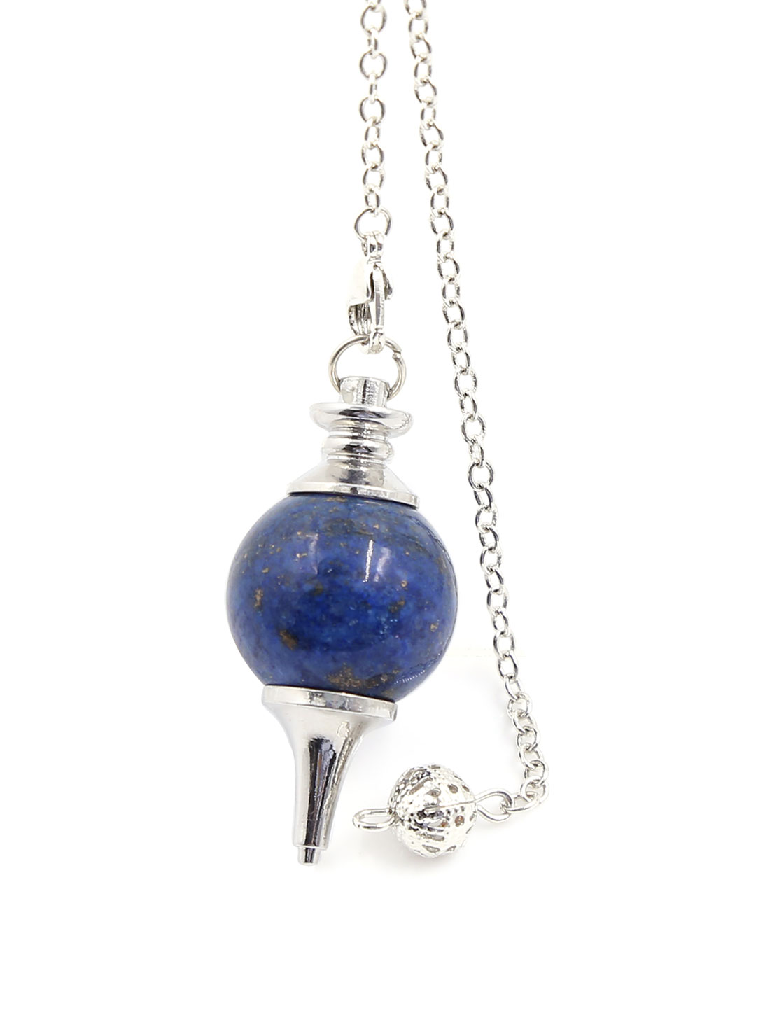 "Lapis Lazuli Gemstone Point Metaphysical Chakra Reiki Pendulum 6"" Chain"
