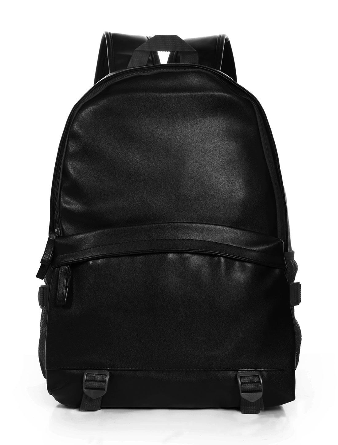 Men Zipper Closed Front Pocket Buckle Straps Leisure PU Backpacks Black