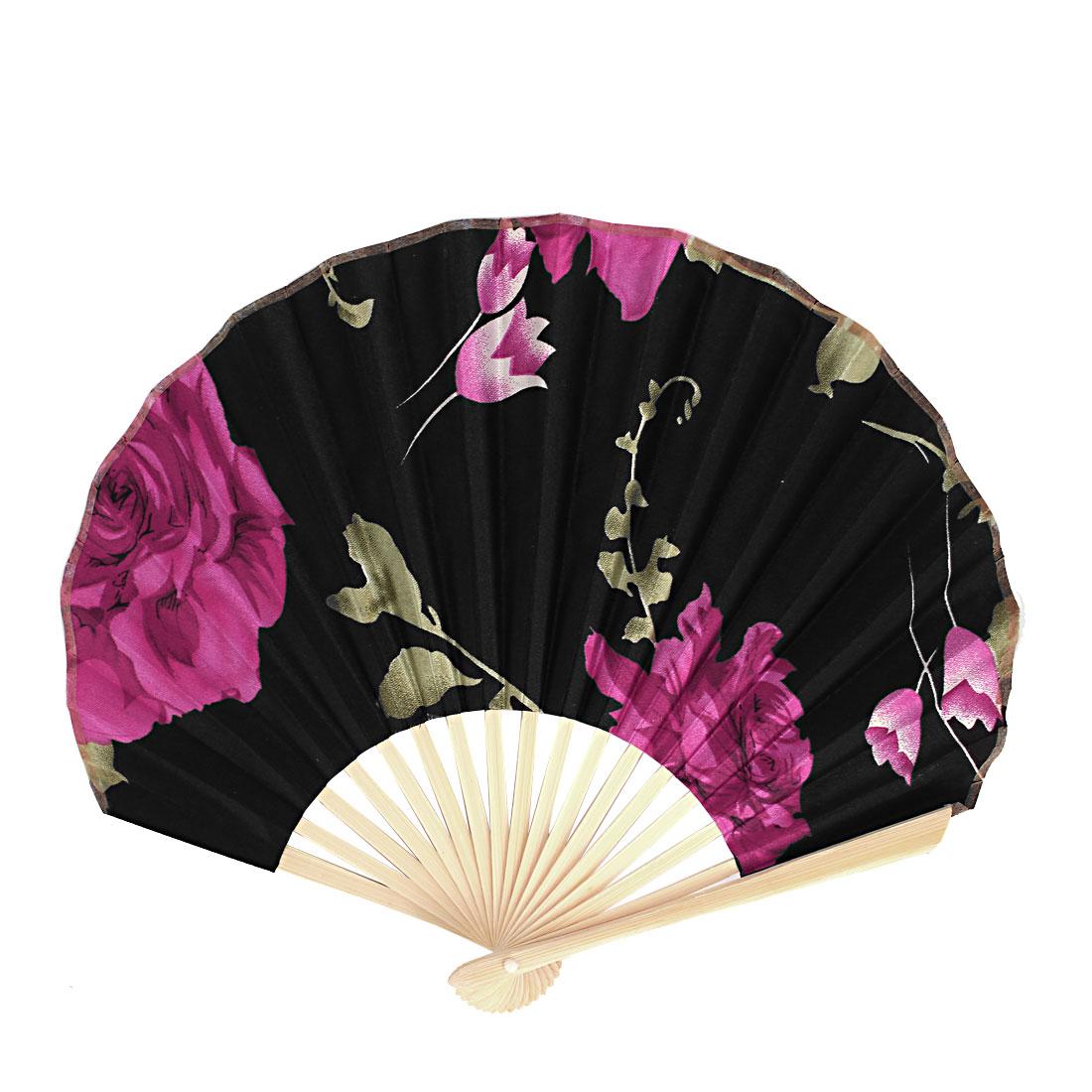 Ladies Chinese Style Flower Pattern Bamboo Folding Fan Hand Fan Black Pink