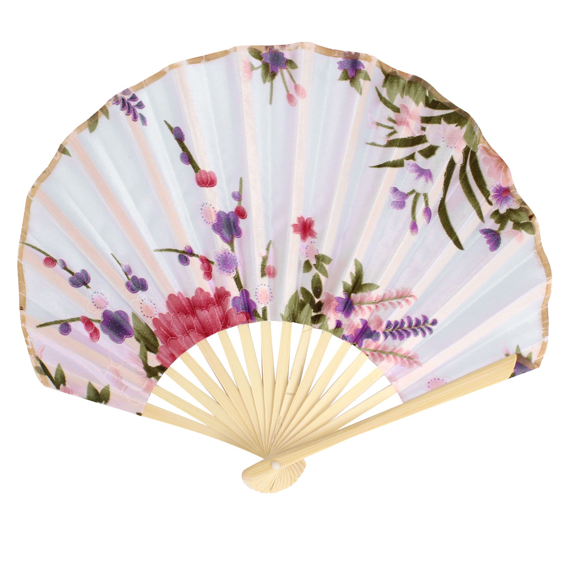 Bamboo Rib Polyester Blooming Flower Printed Folding Hand Fan Party Gift