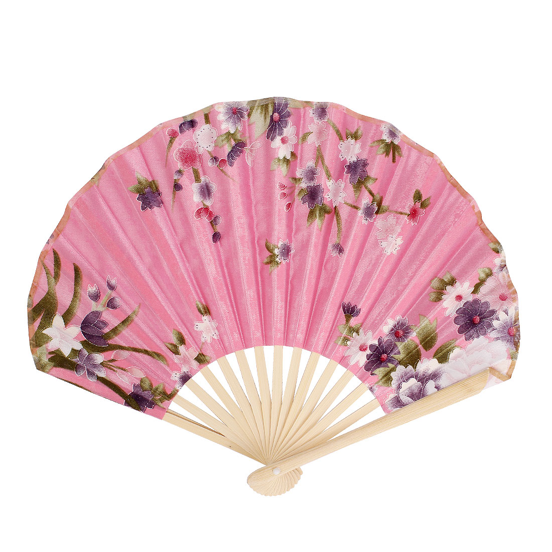 Leave Blooming Flowers Printed Bamboo Handle Foldable Hand Fan Green Pink