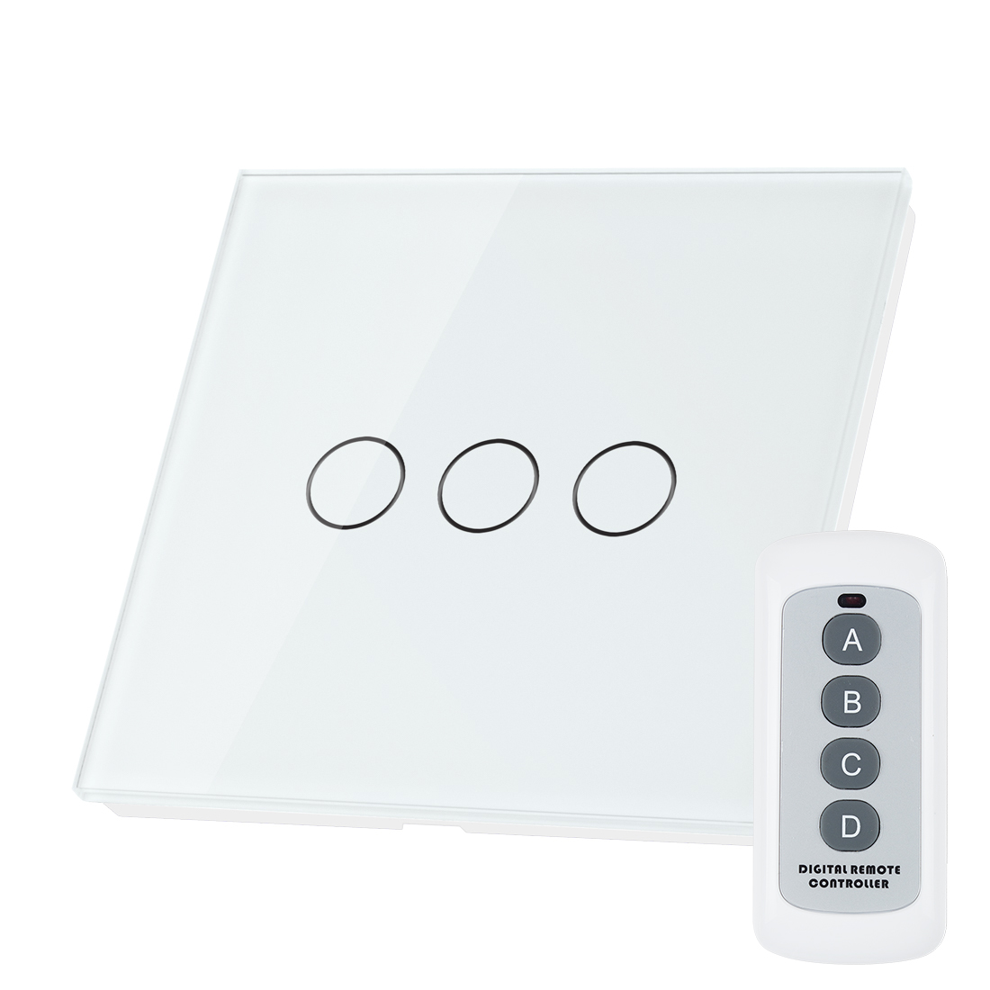 Crystal Glass 3 Gang 1 Way Panel Touch Wall Light Switch Remote Controller