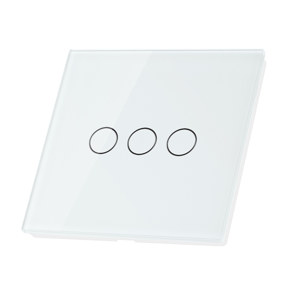 Crystal Glass 3 Gang 1 Way Panel Touch Home Wall Light Switch White